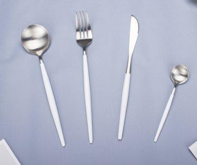 北歐創意餐具刀叉勺套裝 鋼琴白