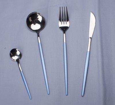北歐創意餐具刀叉勺套裝 霧霾藍