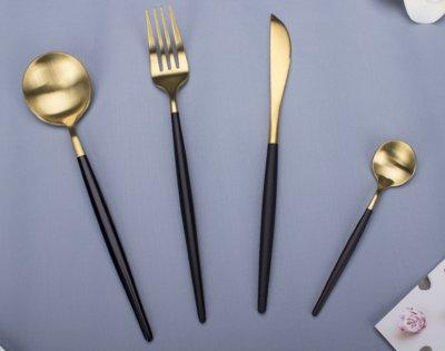 北歐創意餐具刀叉勺套裝 暗夜黑