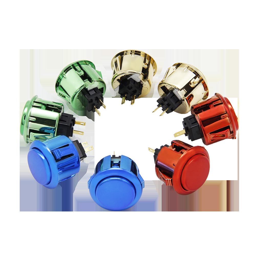 拳霸/QANBA 街机配件 30mm 金属色卡式按钮 游戏摇杆按键