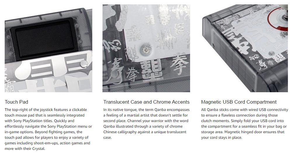 QANBA Q2 Crystal Joystick Arcade Fighting Stick -PS4 PS3 PC