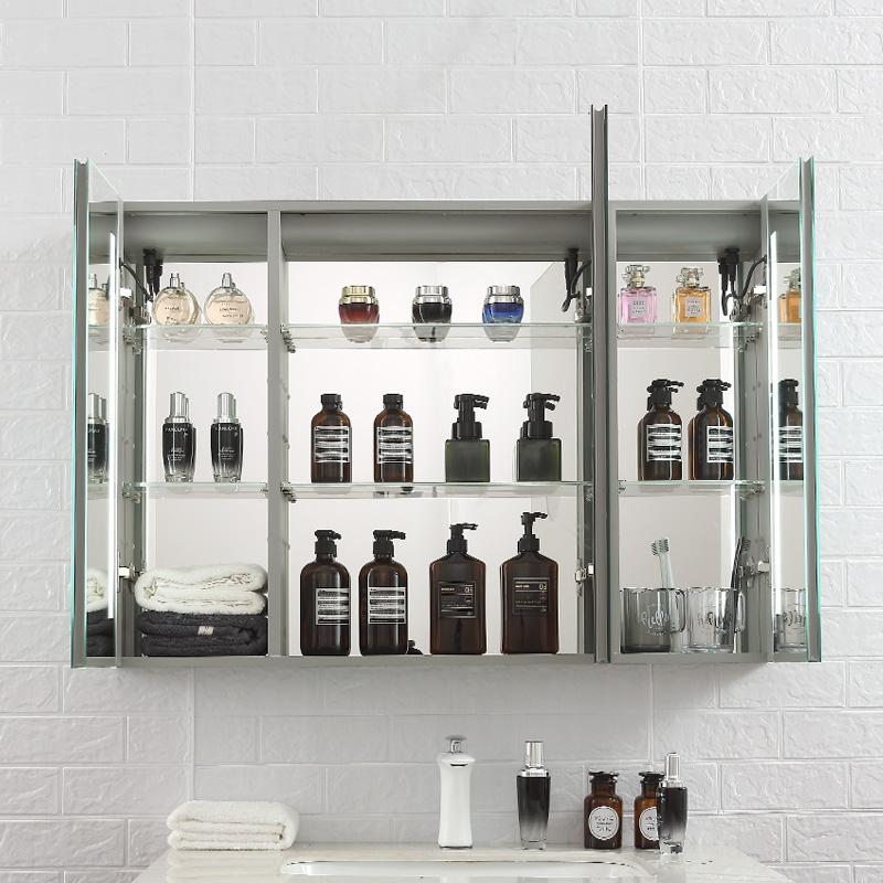 智能防霧浴室鏡柜掛墻式帶燈置物衛生間太空鋁收納鏡箱廁所除霧鏡