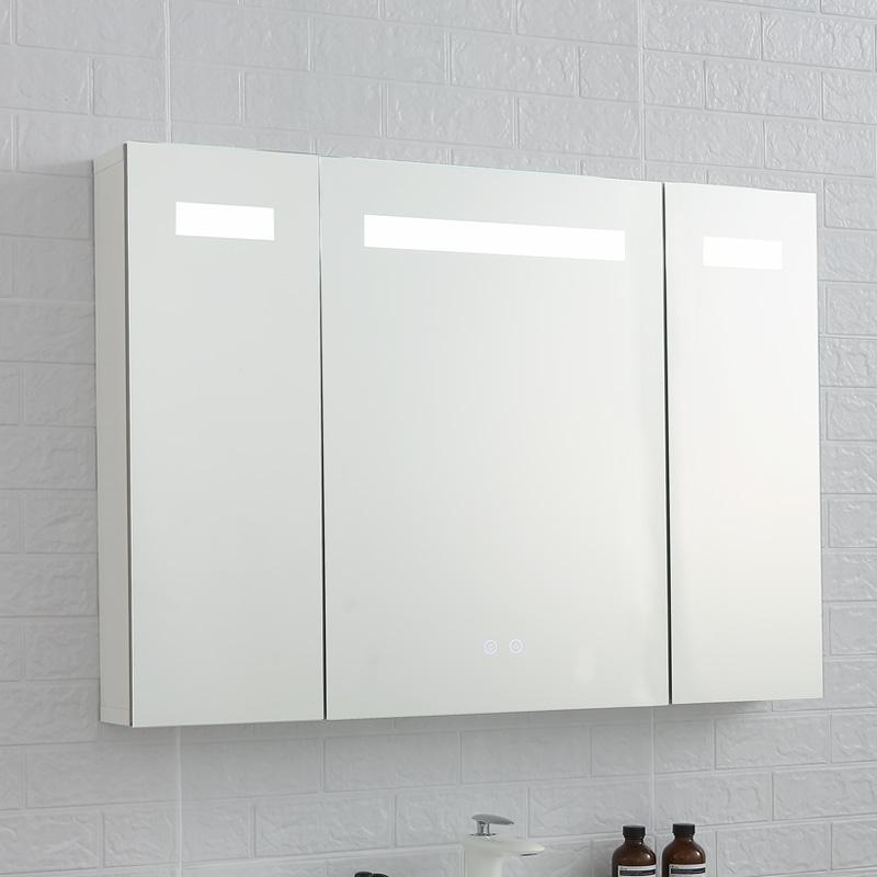 智能防霧浴室鏡柜帶led燈 廁所壁掛墻式洗手間鏡箱梳妝衛生間鏡子