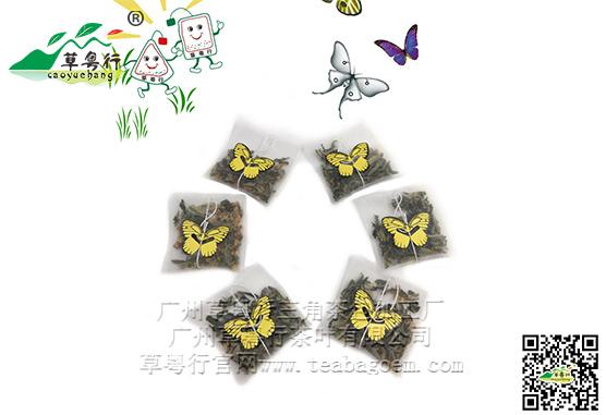 进口尼龙平角包袋泡茶蝴蝶型标签