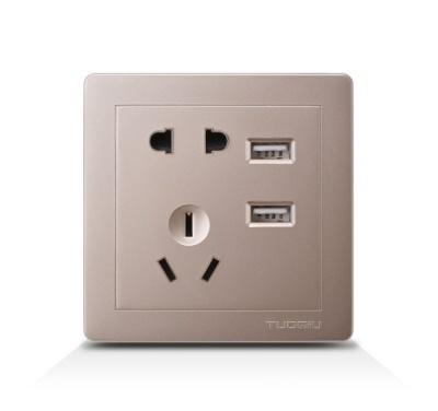二三极插带双USB