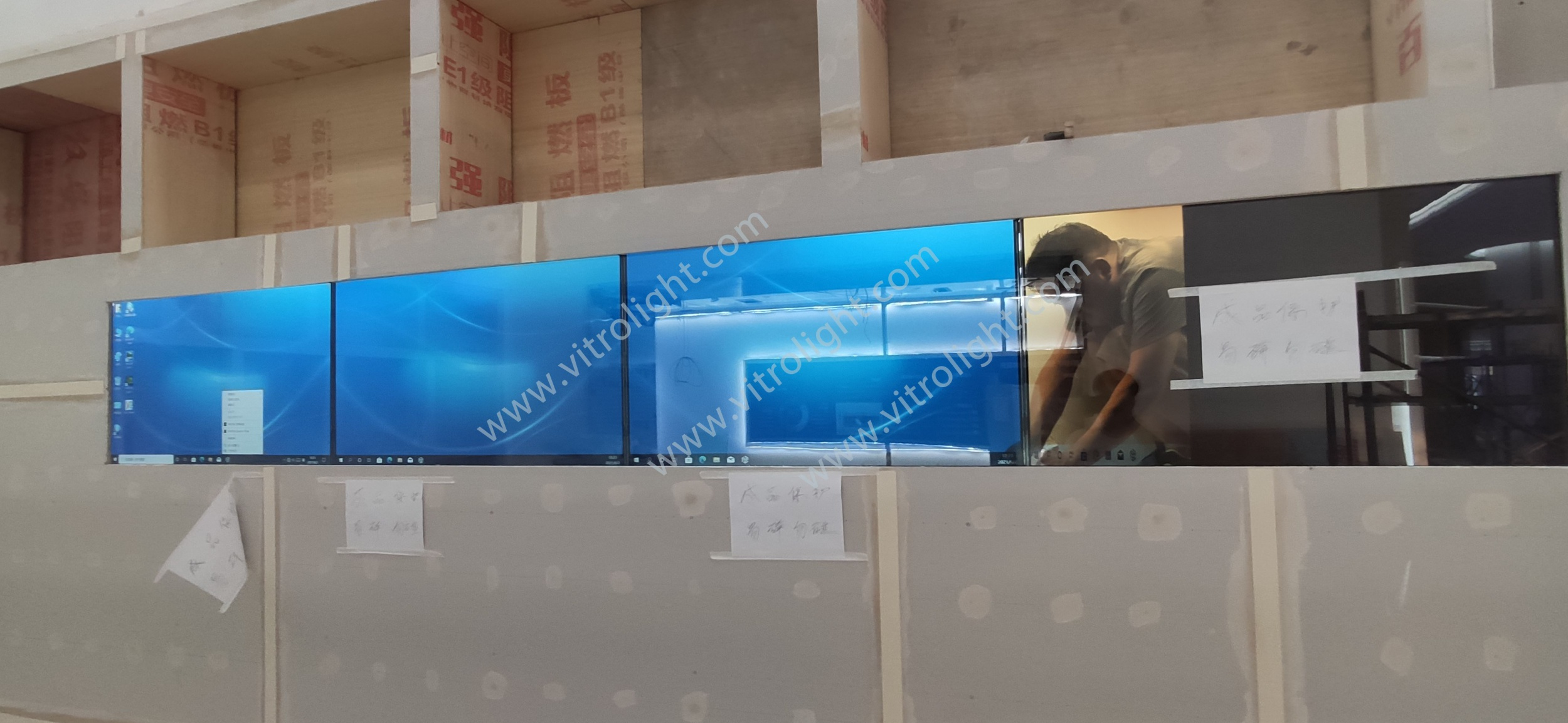 On-site installation of 46-inch 1×4 transparent screen project in Huji Town, Jining, Shandong