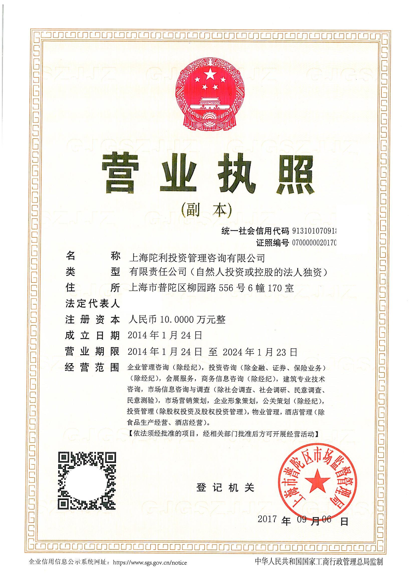 上海陀利投资管理咨询有限公司