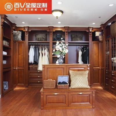 定制衣柜 实木整体衣柜 走入式衣帽间 全屋家具美式庄园衣柜定制