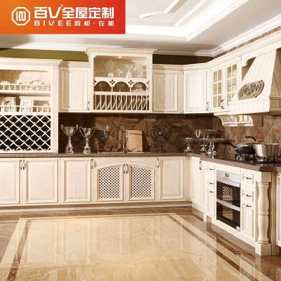 成都百V 纯实木水曲柳橱柜定做 整体厨房装修 全屋定制 L形厨柜