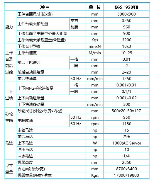 程控平面磨床KGS930参数图
