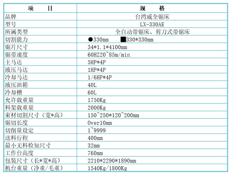 台湾威全锯床LX-330AE