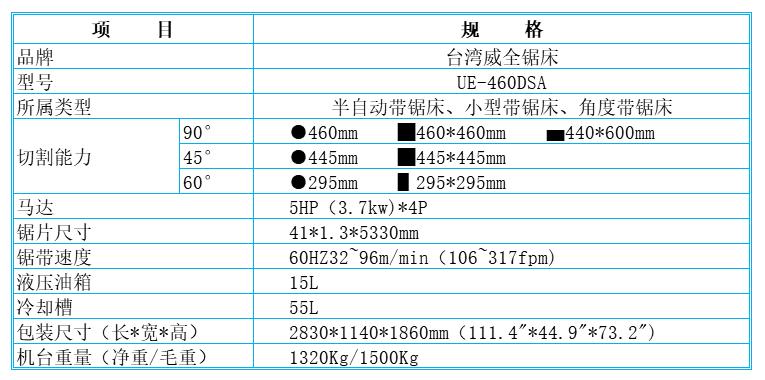 台湾威全锯床WE-460DSA