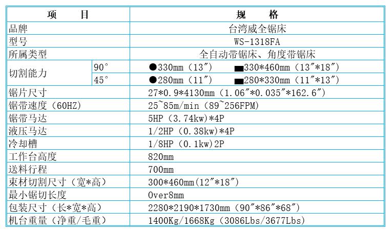 台湾威全锯床WS-1318FA