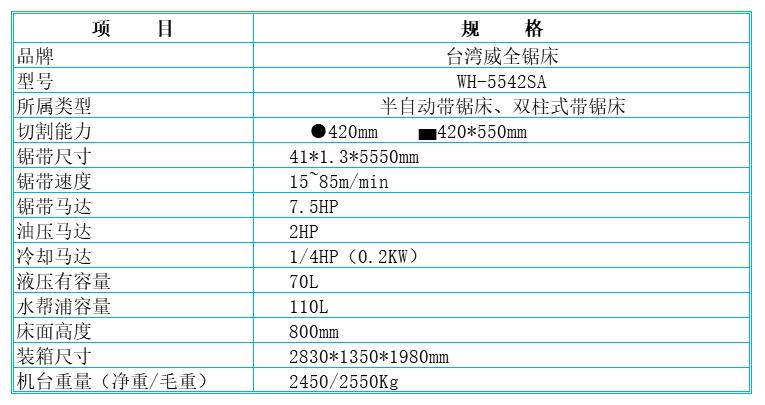 台湾威全锯床WH-5542SA