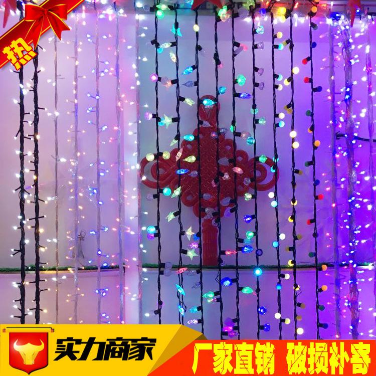 LED灯串厂家生产彩色造型水晶闪彩灯10米长100珠闪烁星星LED灯串