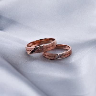【B&W黑白钻】甜蜜乐章-周百福黑白钻结婚对戒