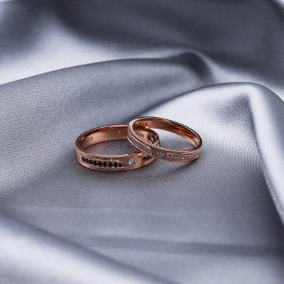 【B&W黑白钻】幸福和弦-周百福黑白钻结婚对戒