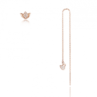 【荷你偶遇】初见-周百福18K金钻石耳环(AB款一对)