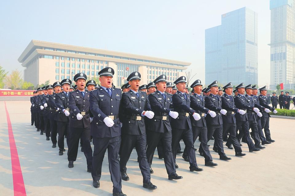 太原市公安局举行全警实战大练兵礼仪队列会操比武