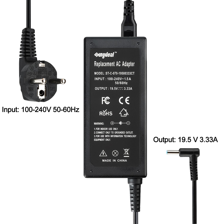 SUNYDEAL Notebook Chargeur Adaptateur Secteur pour HP 65W 4.5x3mm Model: ST-C-070-19500333CT