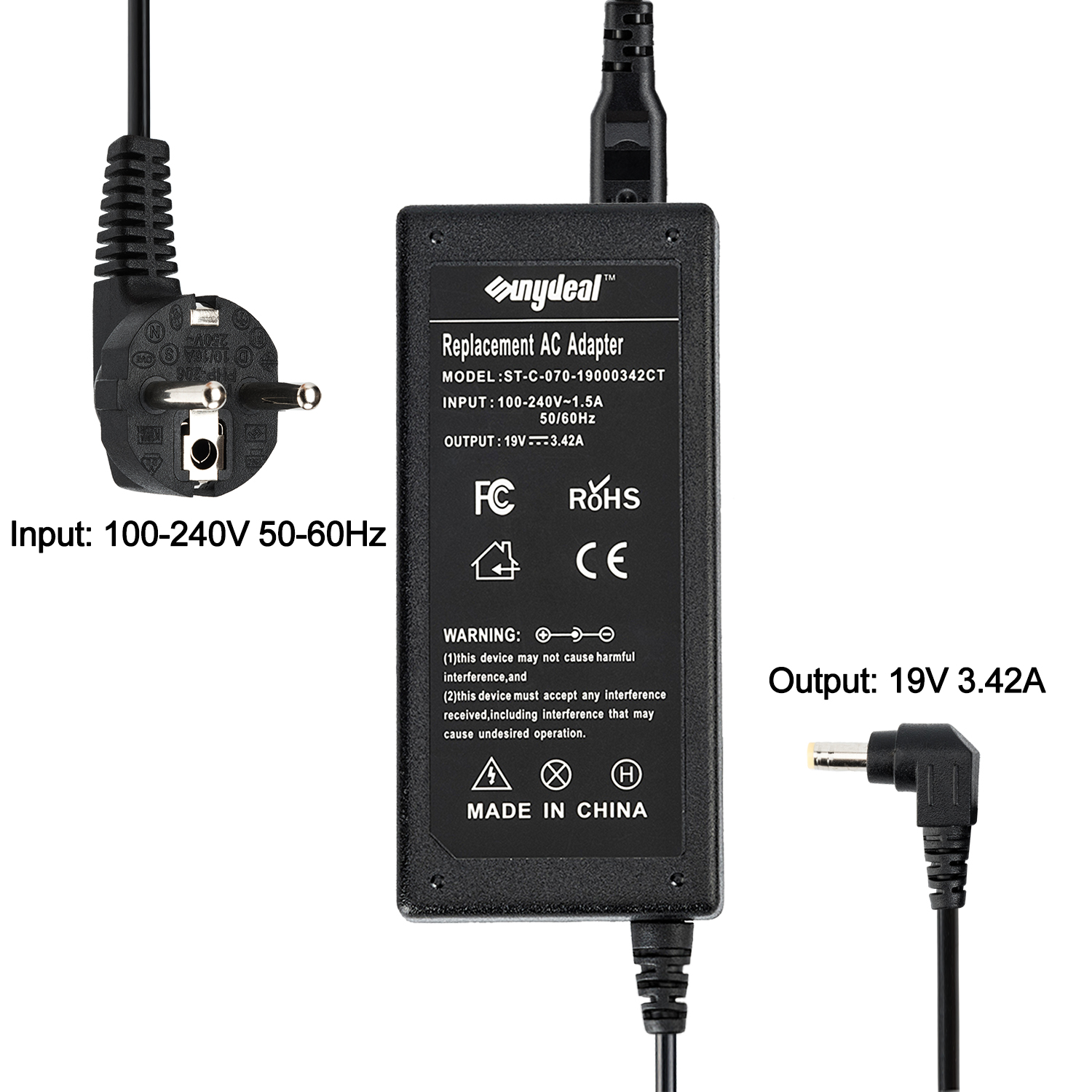 SUNYDEAL Chargeur Remplacement 65W 5.5x2.5mm pour Toshiba/ASUS Model: ST-C-070-19000342CT