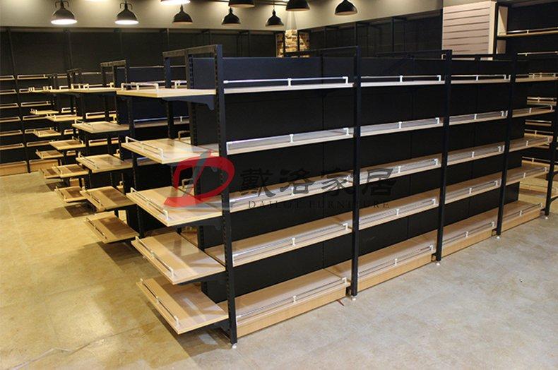 超市木质展示架中岛钢木货架-佛山戴洛木质展示架定制