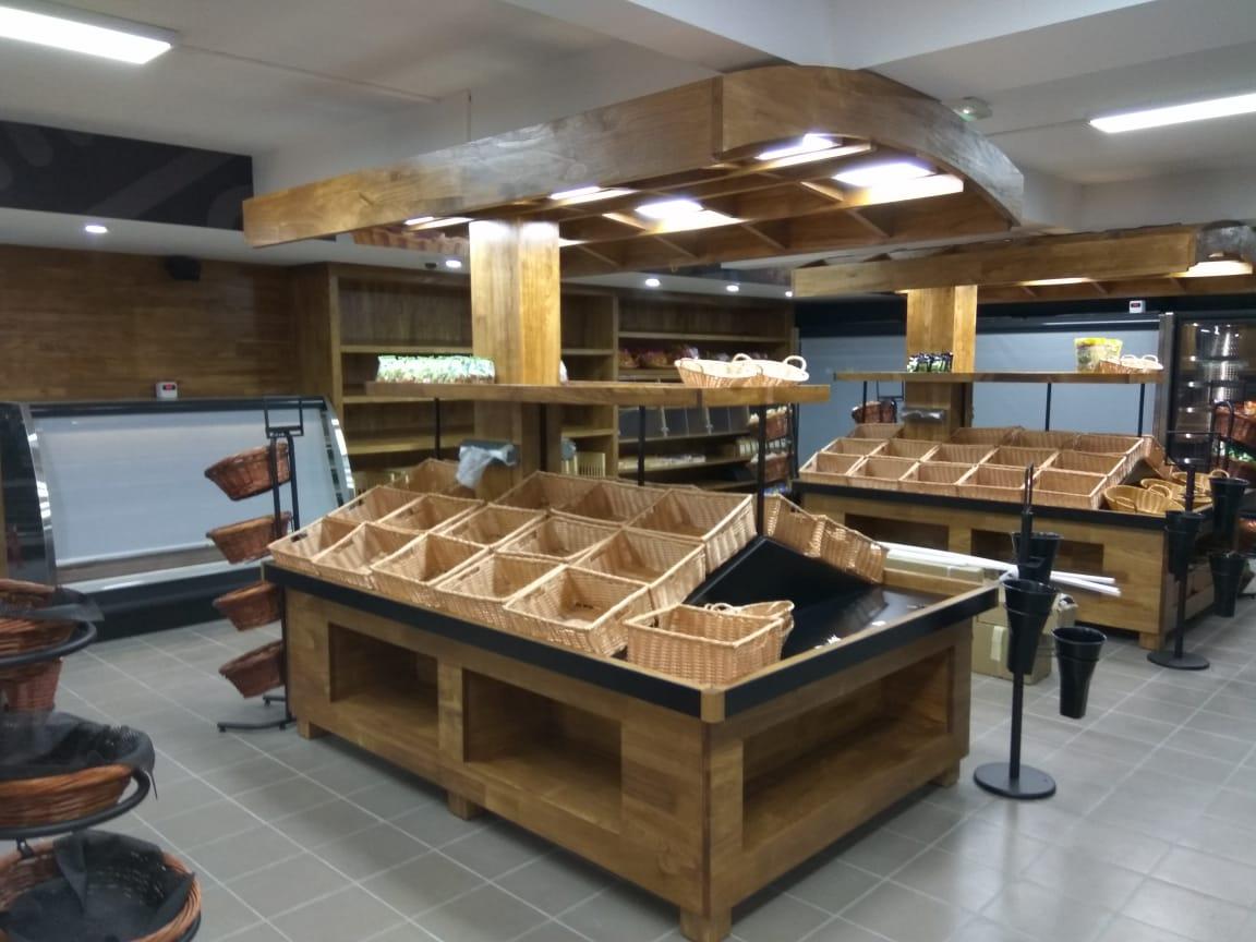 便利店原木色超市貨架蔬果架堆貨架
