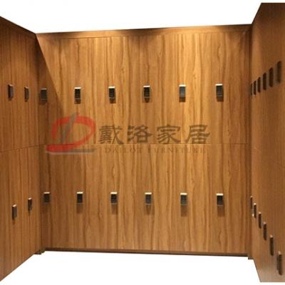 原木色木质更衣柜会所健身房木质衣包柜