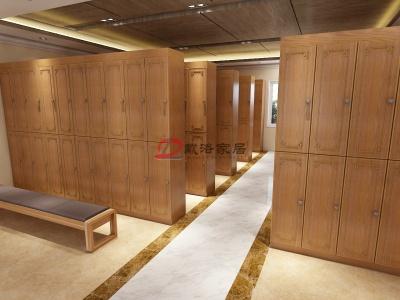 新中式风格会所定制木质更衣柜