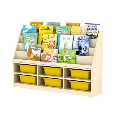 枫木色儿童书架储物柜幼儿园教具盒储物柜