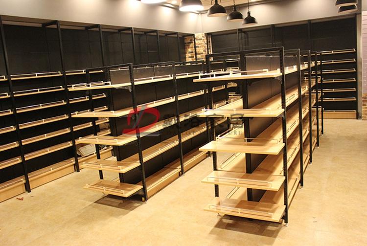 超市木质展示架中岛钢木货架