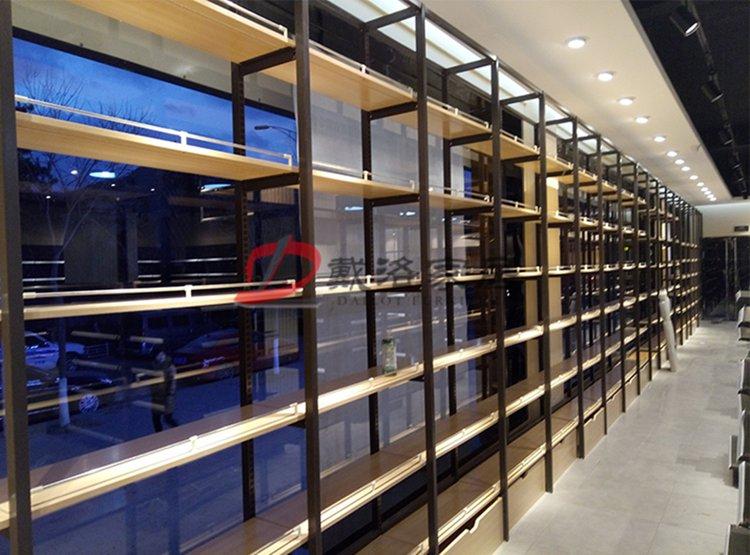 钢木结构组合货架靠墙式商品木质展示架