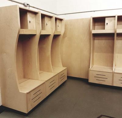 #CBA同款#體育館更衣室開放式木質更衣柜帶擋板木質儲物柜