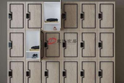定制木质更衣柜健身房更衣柜原木色泽带金属饰条