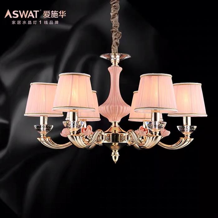 美式水晶臥室6頭燈