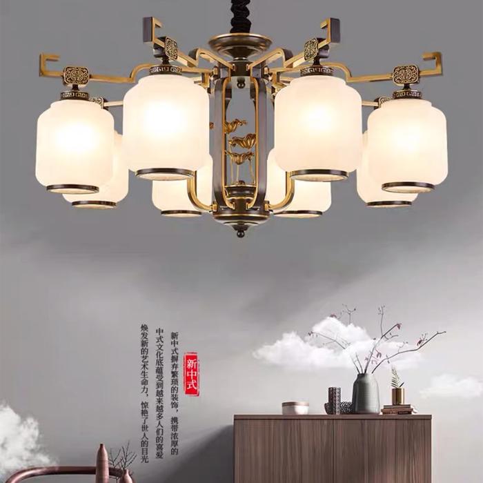新中式風格客餐廳8頭燈