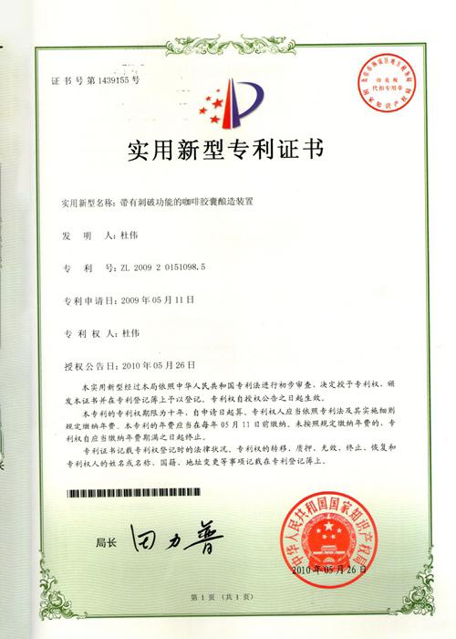 實用新型專利證書501