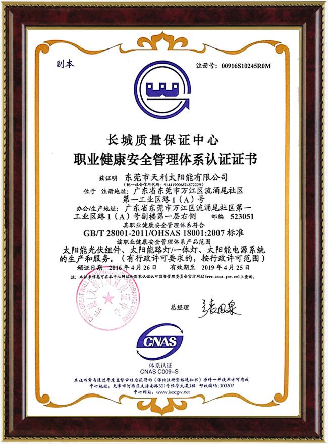 職業健康安全管理體系認證證書(中文)