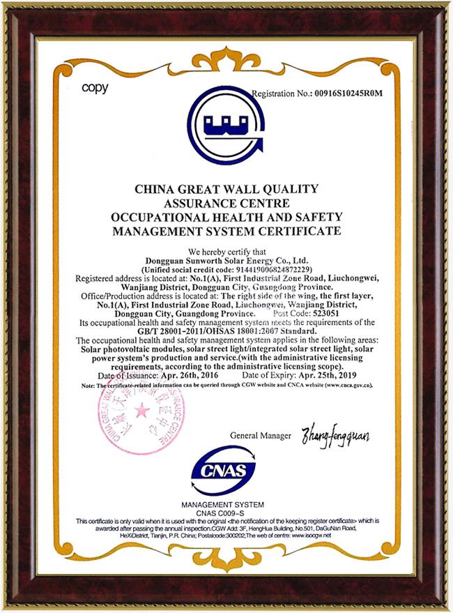 職業健康安全管理體系認證證書(英文)