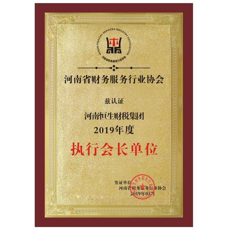 河南省财务行业服务协会执行会长单位