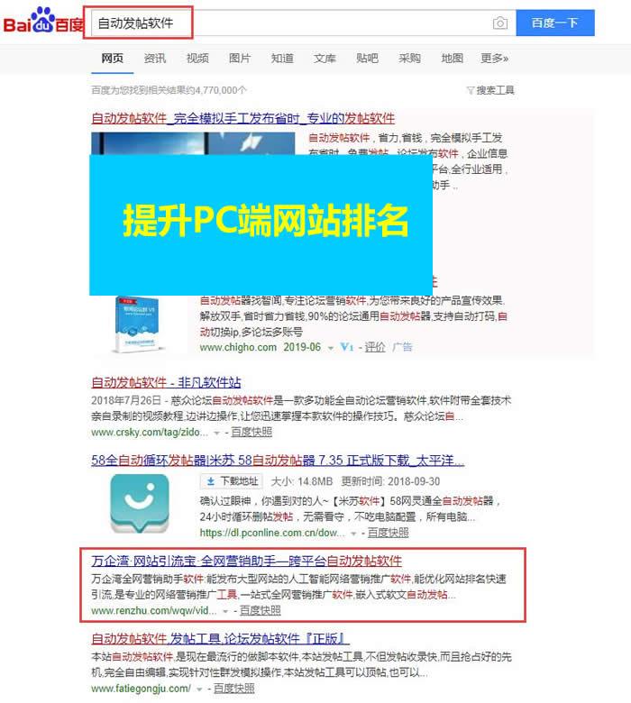 (2)通过发帖提升网站在搜索引擎排名