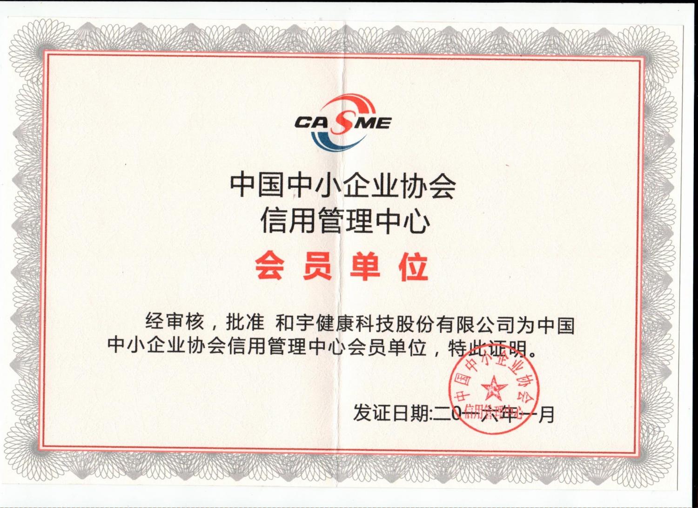 中國中小企業協會會員單位證書