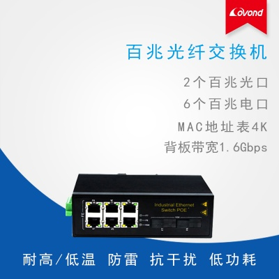 工業級百兆2光6電光纖交換機