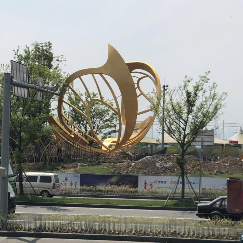 宁波西高速入城口景观提升工程12米不锈钢抽象蝴蝶英超狼队赞助商万博app