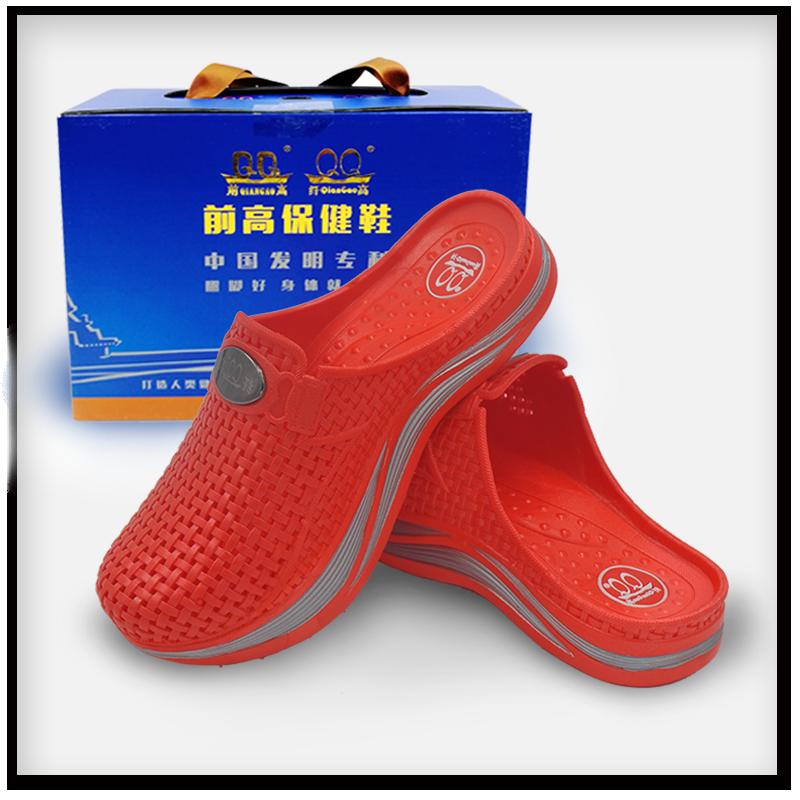 珠大红色纤高女鞋