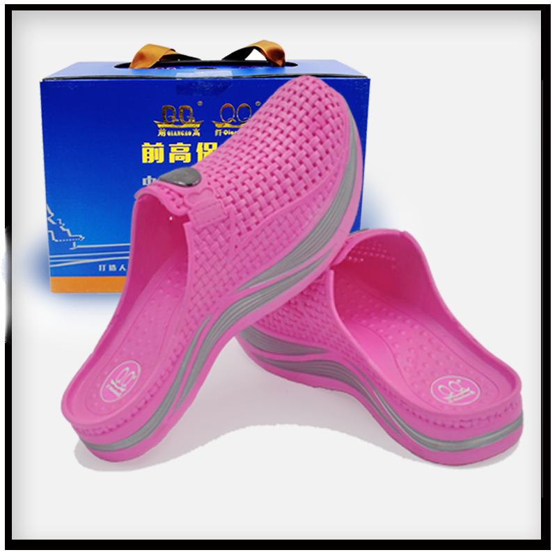 桃红色纤高女鞋