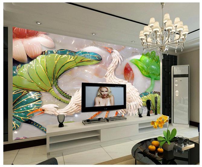 高端玉雕仙鹤荷花欧式壁画电视背景墙