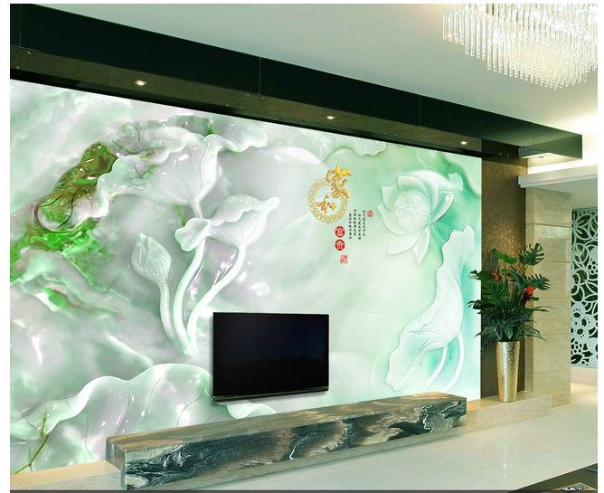 高清花开富贵玉雕立体壁画电视背景墙