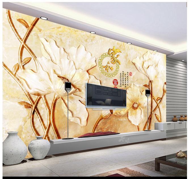 高清玉雕家和富贵花朵电视背景墙