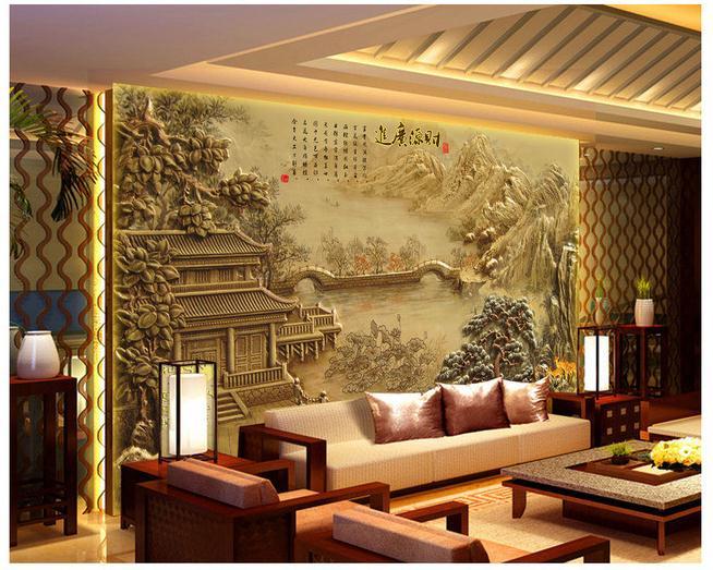 古典亭子山水浮雕电视背景墙